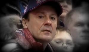 Олег Меньшиков на хоккейном матче Россия - Финляндия.