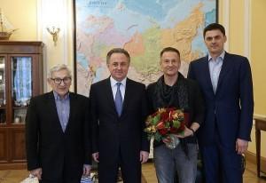 Виталий Мутко, Олег Меньшиков и Александр Попов в Минспорте РФ